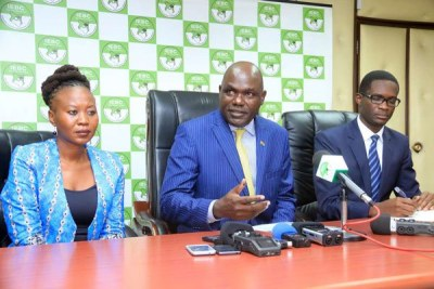 IEBC chairman Wafula Chebukati, centre, Commissioner Roselyne Akombe and CEO Ezra Chiloba address journalists on June 14.