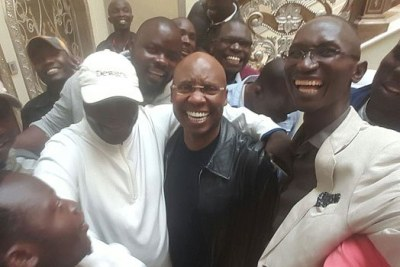 Jimi Wanjigi is mobbed by Nasa supporters in his house in Muthaiga on October 18, 2017.