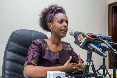 Diane Rwigara at a past press briefing in Kigali.