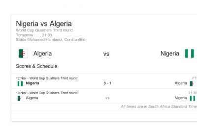 Nigeria vs Algeria.