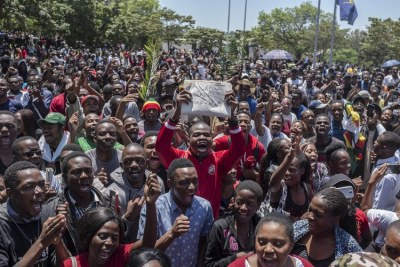Students at the University of Zimbabwe protest.