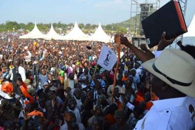 Nasa leader Raila Odinga addresses his supporters at the Homa Bay stadium in Homa Bay County on January 27, 2018.