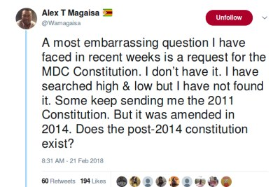 Does the MDC-T constitution exist?, Alex Magaisa asks.