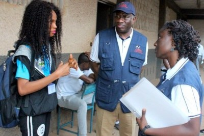 Former Nigerian president Goodluck Jonathan,  leader of a mission observing the Sierra Leone polls sent by the Electoral Institute for Sustainable Democracy in Africa, visited polling stations in Freetown on March 7.