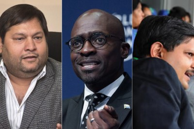 Left: Ajay Gupta. Centre: Home Affairs Minister Malusi Gigaba. Right: Atul Gupta.