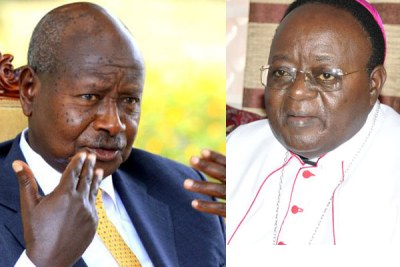 A photo montage of President Yoweri Museveni and the Archbishop of Kampala Archdiocese, Cyprian Kizito Lwanga (file photos).