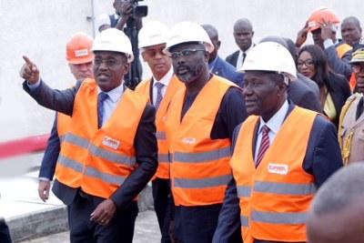 Le président de la république du Liberia son excellence George Weah et le vice-président de la république de Côte d'Ivoire Daniel Kablan Duncan en visite à CIPREL