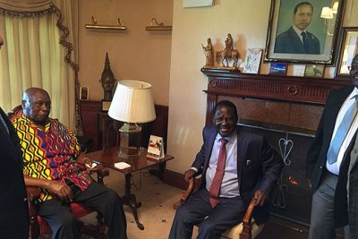 Nasa leader Raila Odinga during his meeting with retired President Daniel Moi in Kabarak on April 12, 2018.