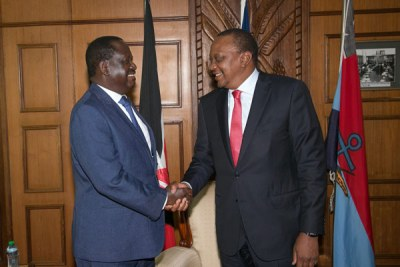 Opposition leader Raila Odinga and President Uhuru Kenyatta when they met at Harambee House in Nairobi on March 9, 2018.