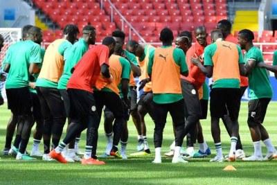 L'équipe nationale du Sénégal lors d'une séance d'entrainement en Russie.