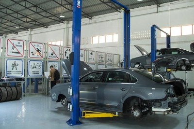 Some Volkswagen cars in the workshop at Kigali Special Ecomic Zone.