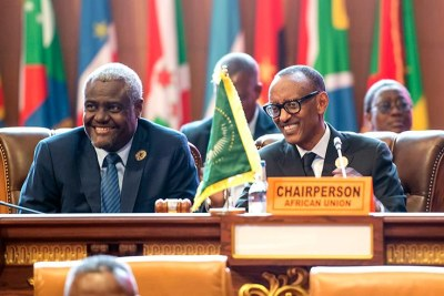 President Kagame with Moussa Faki, the Chairperson of the African Union Commission, during the closing ceremony of the 31st Ordinary Session of the Assembly of Heads of State and Government of the African Union yesterday.