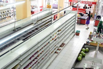 Empty shelves are now the hallmark of the once dominant Uchumi Supermarkets (file photo).