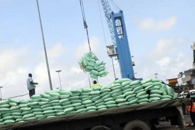 Trucks within the port of Mombasa waiting to be loaded with imported sugar (file photo).