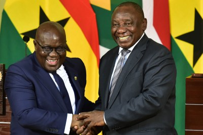 President Cyril Ramaphosa and President Nana Addo Dankwa Akufo-Addo of the Republic of Ghana briefing the media during President Akufo-Addo's State Visit to South Africa held at the Union Buildings in Pretoria.