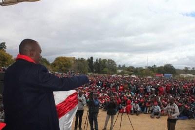 MDC Alliance leader Nelson Chamisa at a Zvishavane rally (file photo).