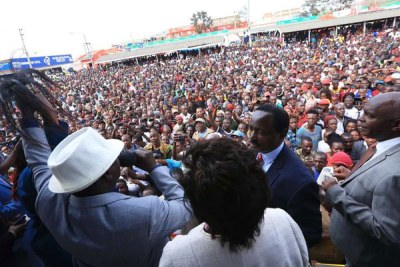 Nasa leaders Raila Odinga (in white hat) and Kalonzo Musyoka (in blue) at a rally in Kitui on July 10, 2018.
