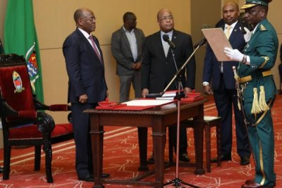 President John Magufuli swears in Phaustine Martine Kashike as the new commissioner general of the prison department at State House on Saturday.