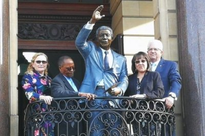 A bronze statue of South Africa's first democratic president, Nelson Mandela, was unveiled at Cape Town City Hall. The statue was erected in the exact spot where Mandela made his first speech after being released from prison on February 11, 1990.