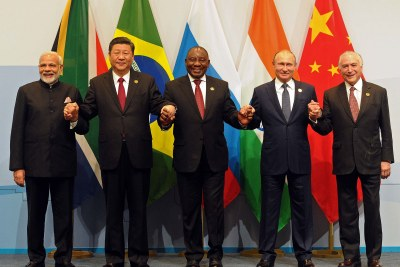 Brics Summit leaders - Indian Prime Minister Narendra Modi, China President Xi Jinping, South African President Cyril Ramaphosa, Russian President Vladimir Putin and Brazilian President Michel Temer