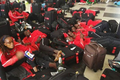 Members of the Kenyan team stranded at Murtala Mohammed International Airport on July 31, 2018.