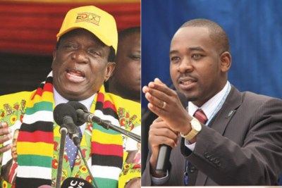 Emmerson Mnangagwa (left) and Nelson Chamisa