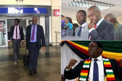 South African legal heavyweights Dali Mpofu and Tembeka Ngcukaitobi, left. Opposition leader Nelson Chamisa and President Emmerson Mnangagwa, right (file photo).