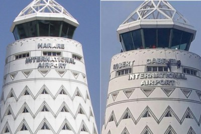 Before and after Harare International Airport was renamed Robert Mugabe Mugabe Airport (file photo).