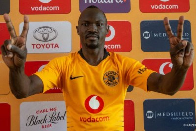 Former Gor Mahia defender after being unveiled by his new club Kaizer Chiefs of South Africa.