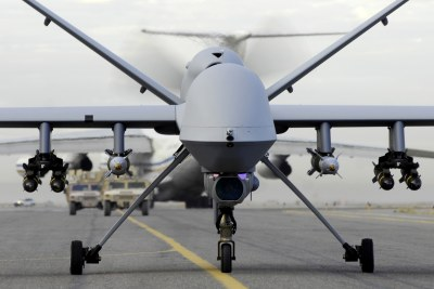 An armed MQ-9 Reaper, a drone of the type which will be used to attack militants in the Sahel.