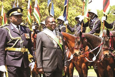President Emmerson Mnangagwa inspects the ZRP Mounted Escort at the opening of parliament on September 18, 2018