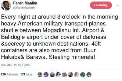 Former Deputy Speaker of the Kenyan National Assembly Farah Maalim tweet.