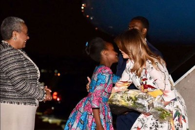 U.S First Lady Melania Trump arrives in Nairobi, Kenya, on October 4, 2018. She was received by First Lady Margaret Kenyatta.
