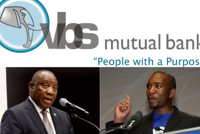 Top: VBS Mutual Bank logo. Bottom-left: President Cyril Ramaphosa. Bottom-right: DA leader Mmusi Maimane.
