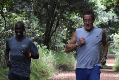 Olympic champion Eliud Kipchoge with CNN Anchor Richard Quest at Karura Forest.