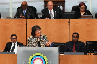 Patricia de Lille addresses the Cape Town City Council on October 25, 2018.