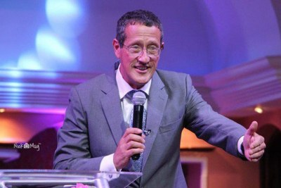 CNN business journalist Richard Quest on the pulpit at the Jubilee Christian Church in Nairobi.