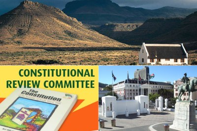 Top: A farmhouse in the Free State. Bottom-left: Media image of the Constitutional Review Committee. Bottom-right: The National Assembly building in Cape Town.