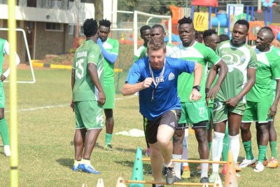 Gor Mahia head coach Dylan Kerr leads a training session at the Parklands Sports Club.