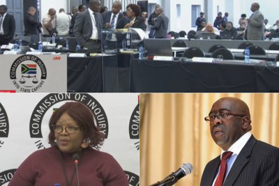 Top: Zondo Commission of Inquiry readies proceedings. Bottom-left: Former ANC MP Vytjie Mentor. Bottom-right: Former finance minister Nhlanhla Nene.
