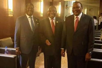 President Uhuru Kenyatta (right) with South African President Cyril Ramaphosa (centre) and Nasa leader Raila Odinga in Addis Ababa, Ethiopia.