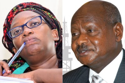 Ugandan activist Stella Nyanzi and president Yoweri Museveni.