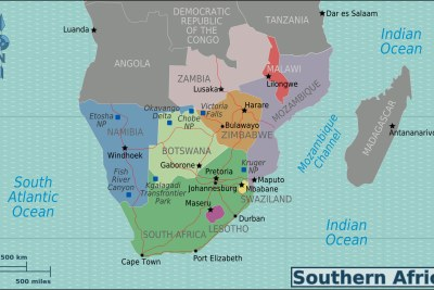 A map of southern Africa.