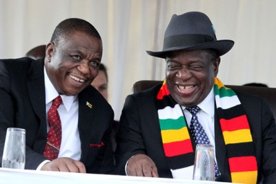 President Emmerson Mnangagwa, right, and Vice President Constantino Chiwenga at a ground-breaking ceremony at the Arcadia Lithium Mine in Goromonzi.