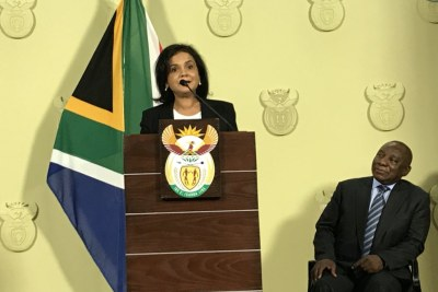 Advocate Shamila Batohi speaks beside President Cyril Ramaphosa after her appointment as the new head of the National Prosecuting Authority.
