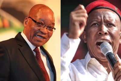 Left: Former president Jacob Zuma. Right: Julius Malema, leader of the Economic Freedom Fighters.
