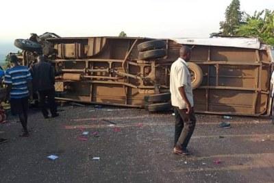 Kapchorwa bus accident scene.
