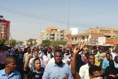 Protestors chant slogans in Khartoum against President Omar al Bashir and his government (file photo).