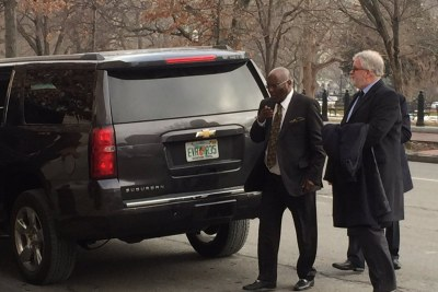Atiku Abubakar, Nigerian presidential candidate of the opposition Peoples Democratic Party (PDP), arriving at the U.S Chamber of Commerce on Friday.