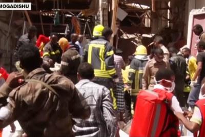 (Photo d'archives) - La scène de la bombe du 4 février 2019 à Mogadiscio.